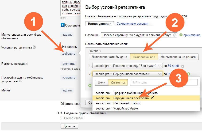 Ретаргетинг Яндекс Директ: настройка