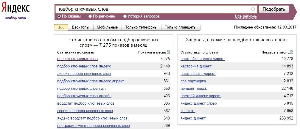 Сервис Яндекс Вордстат