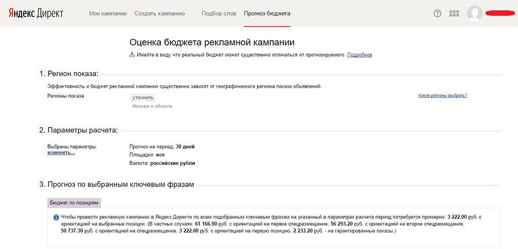 Оценка бюджета рекламной кампании Яндекса